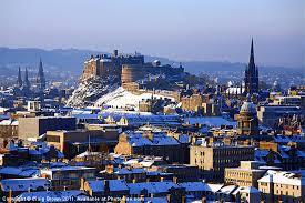 A pigeon's eye view of Edinburgh in the grip of winter