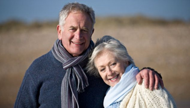 Portrait of a senior couple standing on the beach